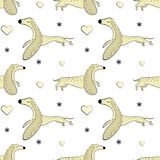 Vector seamless pattern of hand drawn dachshunds. Symbols of the New Year 2018. Use as a background for sites, wallpapers, wrapping paper royalty free illustration