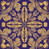 Vector seamless pattern with hand drawn symmetrical decorative tribal elements. vector illustration