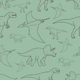 Vector seamless pattern with hand drawn dinosaurs Stock Photos