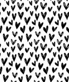 Vector seamless pattern with hand drawn doodle black small hearts. Doodle background for your design royalty free illustration