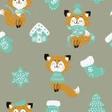 Vector seamless pattern with hand drawn doodle Christmas trees forest, socks. Foxes in a scarf. vector illustration