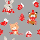 Vector seamless pattern with hand drawn doodle Christmas trees forest, socks. Rabbit bunny, fox and bear in a scarf. royalty free illustration