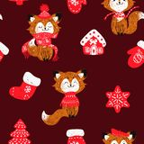 Vector seamless pattern with hand drawn doodle Christmas trees forest, socks. Foxes in a scarf. stock illustration