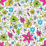 Vector seamless pattern with hand drawn doodle flowers and butte royalty free illustration