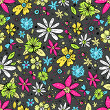 Vector seamless pattern with hand drawn doodle flowers and butte stock illustration