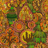 Vector seamless pattern with hand drawn doodle trees. Royalty Free Stock Photos