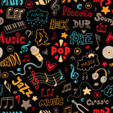 Vector seamless pattern of hand drawn doodles on a music theme. Stock Image