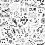 Vector seamless pattern of hand drawn doodles on a music theme. Stock Photo
