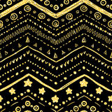 Vector seamless pattern. Of hand-drawn elements on a black background with a texture of golden glitter and shine Stock Photo