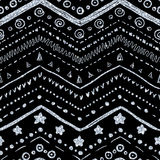 Vector seamless pattern. Of hand-drawn elements on a black background with a textured silver metallic glitter and shine Royalty Free Stock Photo