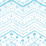 Vector seamless pattern. Of hand-drawn elements on a white background with a texture of blue glitter and shine Stock Photography