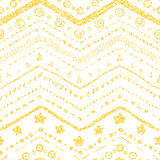 Vector seamless pattern. Of hand-drawn elements on a white background with a texture of golden glitter and shine Stock Photos