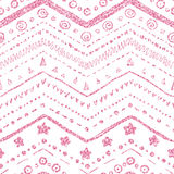 Vector seamless pattern. Of hand-drawn elements on a white background with a textured pink glitter and shine Stock Photography
