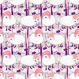Hand drawn fashionista sheeps with pink hair on gray background royalty free illustration