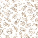 Vector seamless pattern with hand drawn fast food elements. Vector seamless pattern with hand drawn a soda, cheeseburger, french fries, ice cream, hotdog, pizza stock illustration
