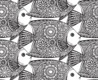 Vector seamless pattern with Hand drawn fish. With floral elements in black and white doodle style. Pattern for coloring book Royalty Free Stock Images