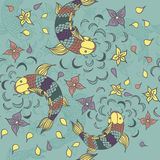 Vector seamless pattern with hand drawn fishes, flowers and wate Royalty Free Stock Photos