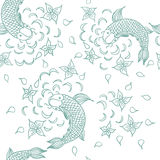 Vector seamless pattern with hand drawn fishes, flowers and wate Stock Images
