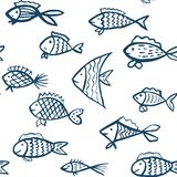 Vector seamless pattern with hand drawn fishes vector illustration