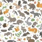 Vector seamless pattern with hand drawn flat funny little baby animals.