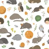 Vector seamless pattern with hand drawn flat funny sleeping animals.