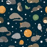 Vector seamless pattern with hand drawn flat funny sleeping animals
