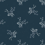 Vector seamless pattern with hand drawn floral elements and berries.  Royalty Free Stock Photos