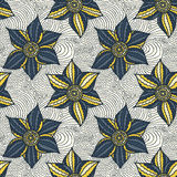 Vector seamless pattern of hand-drawn flowers Royalty Free Stock Photo