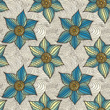 Vector seamless pattern of hand-drawn flowers Royalty Free Stock Image