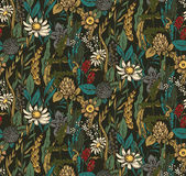 Vector seamless pattern with hand drawn flowers and herbs. Stock Photo