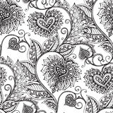 Vector seamless pattern with hand drawn flowers in zentangle sty Royalty Free Stock Photo