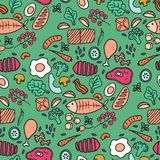 Vector seamless pattern. Hand drawn food for decor menu design. Kitchen surface design. royalty free stock photo