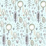 Vector seamless pattern with hand drawn forest trees royalty free illustration
