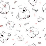 Vector seamless pattern with hand-drawn funny cute fat animals. Silhouettes of animals on a white background. Fun texture with cat stock illustration