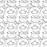 Vector seamless pattern with hand-drawn funny cute fat animals. Silhouettes of animals on a white background. Fun texture with vector illustration
