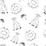 Vector seamless pattern with hand-drawn funny cute fat animals. Silhouettes of animals on a white background. Fun texture with stock illustration