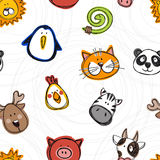 Vector seamless pattern of hand drawn funny doodle animals Royalty Free Stock Photos