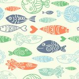Vector seamless pattern with hand drawn funny fishes in sketch style. Decorative endless marine background. Fabric design. Vector seamless pattern with hand Stock Image