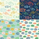Vector seamless pattern with hand drawn funny fishes in sketch style. Decorative endless marine background. Fabric design. Vector seamless pattern with hand Royalty Free Stock Photos