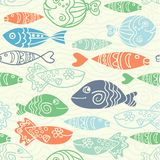 Vector seamless pattern with hand drawn funny fishes in sketch style. Decorative endless marine background. Fabric design. Vector seamless pattern with hand Stock Images