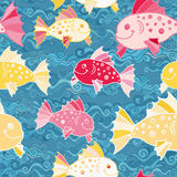 Vector seamless pattern with hand drawn funny fishes in sketch style. Decorative endless marine background. Fabric. Vector seamless pattern with hand drawn funny Royalty Free Stock Photography