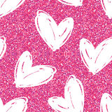 Vector seamless pattern with hand drawn glitter hearts. Royalty Free Stock Photography