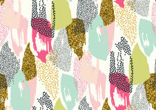 Vector seamless pattern with hand drawn gold glitter textured brush strokes. And stripes hand painted. Black, gold, white, pink, green, blue colors Stock Image