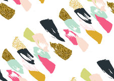 Vector seamless pattern with hand drawn gold glitter textured brush strokes Stock Image