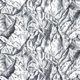 Vector seamless pattern with hand drawn graphic mountain ranges royalty free stock photography
