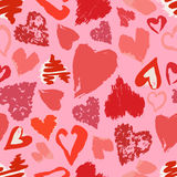 Vector seamless pattern with hand drawn grunge hearts. Vector seamless pattern with hand drawn stylish grunge hearts Stock Illustration