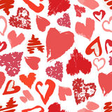 Vector seamless pattern with hand drawn grunge hearts. Vector seamless pattern with hand drawn stylish grunge hearts Vector Illustration