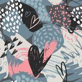 Vector seamless pattern with hand drawn hearts in sketch style and abstract texture stock illustration