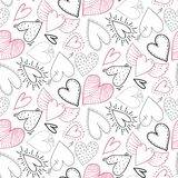 Vector seamless pattern with hand drawn hearts in sketch style. stock image