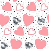 Vector seamless pattern with hand drawn hearts. Sweet hearts. Heart with doodle ornament and dots. Background for St. Valentine`s Day. Vector illustration Royalty Free Stock Photos